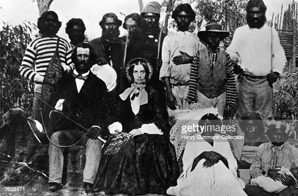 Settlers surrounded by Aborigines This is believed to be the earliest photograph taken in Australia