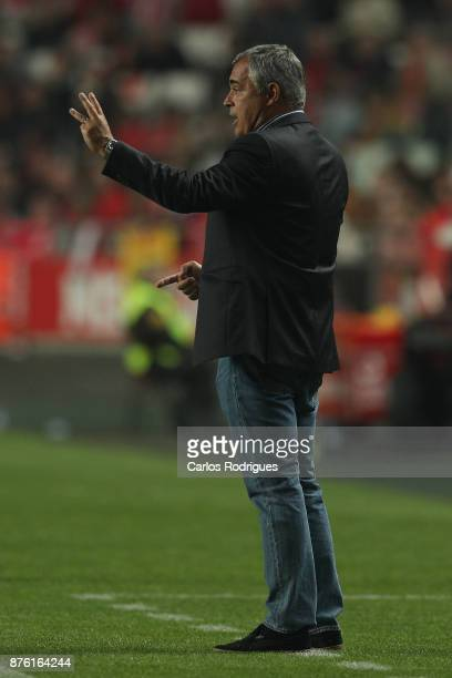 Setubal's coach Jose Couceiro from Portugal during the match between SL Benfica and FC Vitoria Setubal for the Portuguese Cup at Estadio da Luz on...