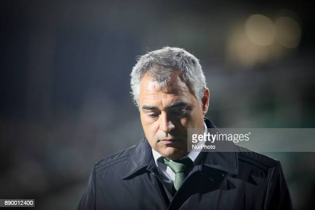 Setubal's coach Jose Couceiro looks down as he leaves the pitch after beeing sent off during the Portuguese League football match between Vitoria...
