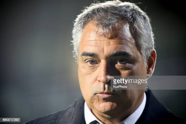 Setubal's coach Jose Couceiro looks on as he leaves the pitch after beeing sent off during the Portuguese League football match between Vitoria...