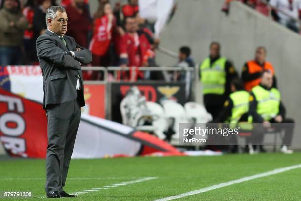 Setubal's coach Jose Couceiro looks on during the Portuguese League football match between SL Benfica and Vitoria Setubal at Luz Stadium in Lisbon on...