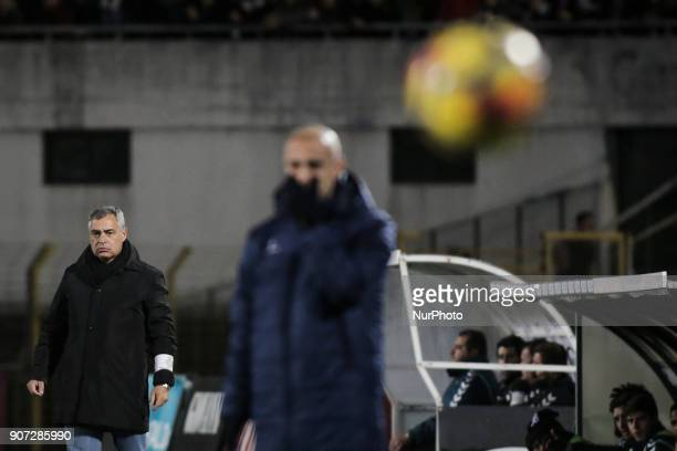 Setubal's coach Jose Couceiro reacts during the Portuguese League football match between Vitoria Setubal and Sporting CP at Bonfim Stadium in Lisbon...