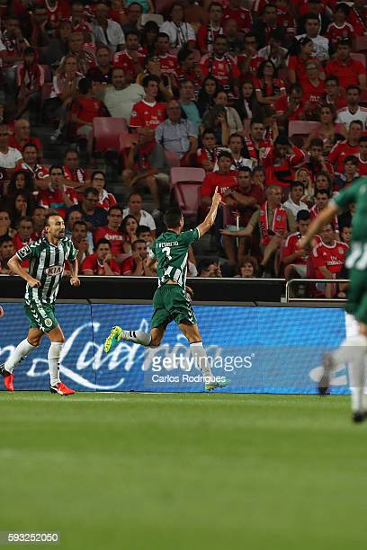 Setubal's defender Frederico Venancio celebrates Setubal«s goal from Portugal during the match between SL Benfica and Vitoria Setubal FC for the...