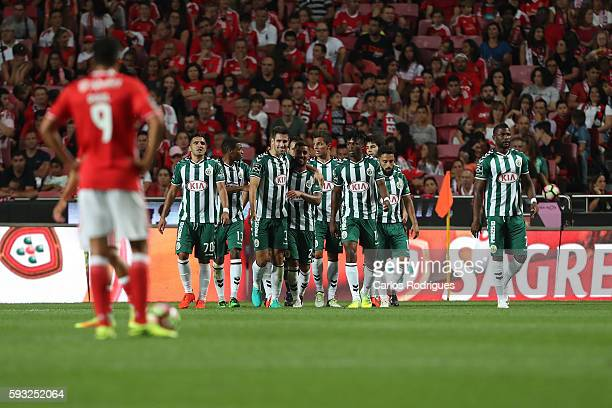 Setubal's defender Frederico Venancio celebrates Setubal«s goal whit his team mates from Portugal during the match between SL Benfica and Vitoria...