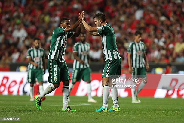 Setubal's defender Frederico Venancio celebrates Setubal«s goalwith Setubal's defender Vasco Fernandes from Ginue Bissau from Portugal during the...