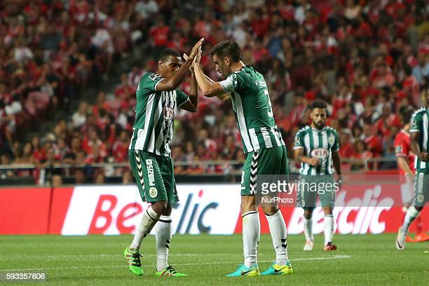 Setubal's defender Frederico Venancio celebrates with Setubal's defender Vasco Fernandes after scoring during the Portuguese League football match SL...