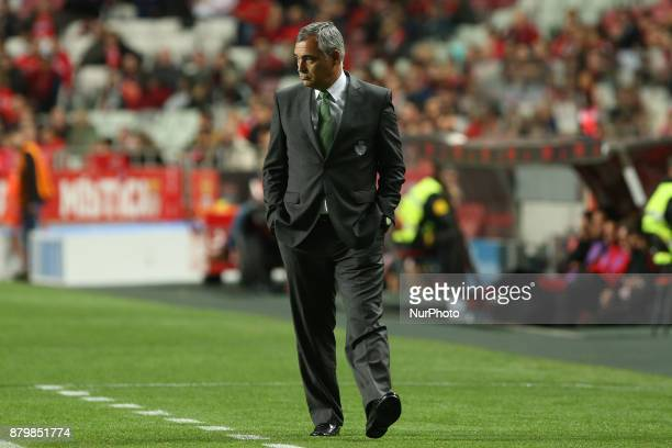 Setubals head coach Jose Couceiro during the Premier League 2017/18 match between SL Benfica and FC Vitoria Setubal at Luz Stadium in Lisbon on...
