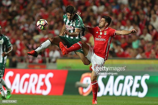 Setubal's midfielder Fabio Pacheco from Portugal vies with Benfica's Portuguese midfielder Pizzi during the match between SL Benfica and Vitoria...