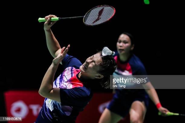 Setyana Mapasa and Gronya Somerville of Australia compete in the Women's Doubles second round match against Misaki Matsutomo and Ayaka Takahashi of...