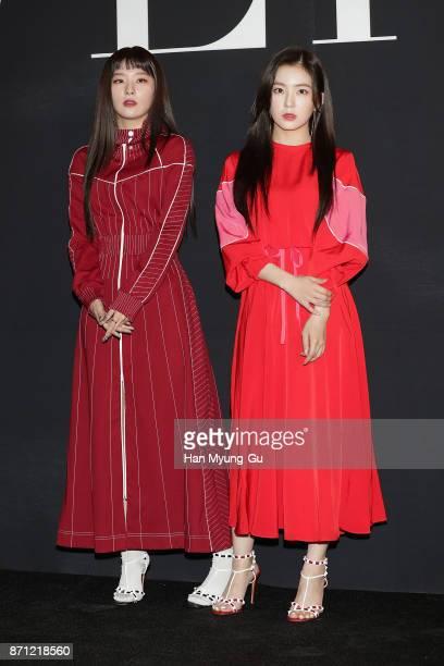 Seulgi and Irene of girl group Red Velvet attend the 'VALENTINO' The VLTN PopUp Store Opening on November 7 2017 in Seoul South Korea