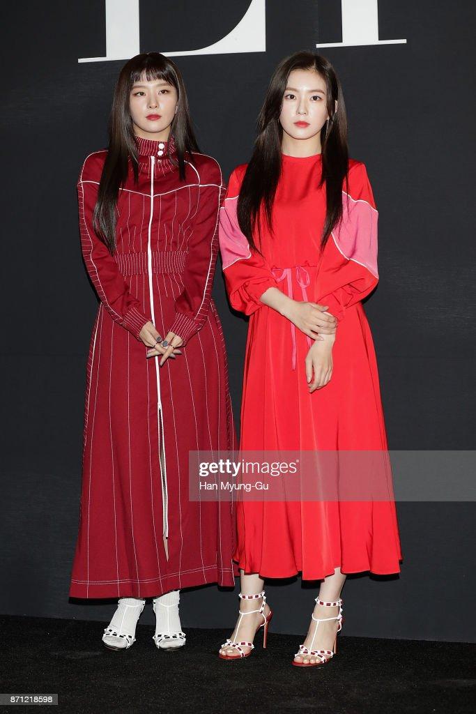 Seulgi and Irene of girl group Red Velvet attend the 'VALENTINO' The VLTN Pop-Up Store Opening on November 7, 2017 in Seoul, South Korea.