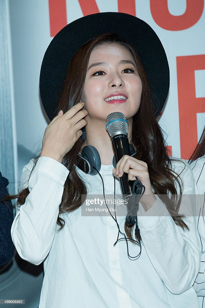 Seulgi of girl group Red Velvet poses for photographs at the launch event for new products of 'SHURE' on November 14, 2014 in Seoul, South Korea.