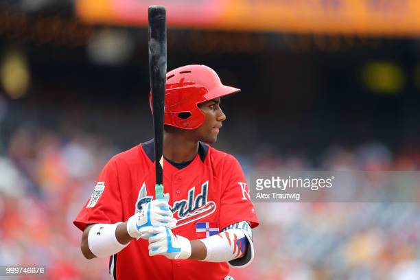 Seuly Matias of the World Team looks on during the SiriusXM AllStar Futures Game at Nationals Park on Sunday July 15 2018 in Washington DC