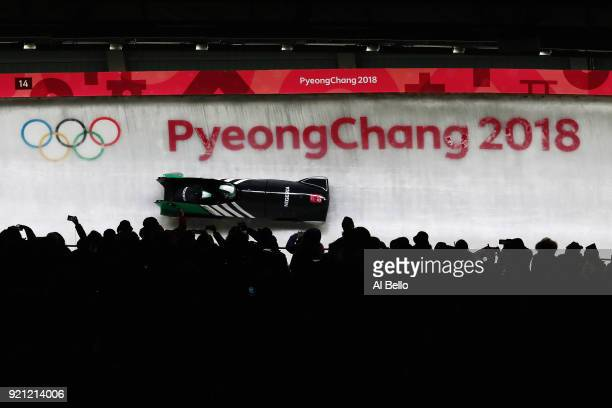 Seun Adigun and Akuoma Omeoga of Nigeria slide during the Women's Bobsleigh heats at the Olympic Sliding Centre on day eleven of the PyeongChang 2018...