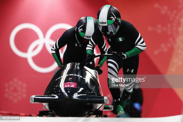 Seun Adigun and Akuoma Omeoga of Nigeria slide during the Women's Bobsleigh heats on day twelve of the PyeongChang 2018 Winter Olympic Games at the...