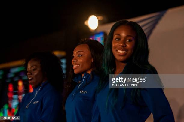 Seun Adigun Ngozi Onwumere and Akuoma Omeoga attend a social social event in Lagos Nigeria on February 2 2018 The lady bobsledders will be the first...