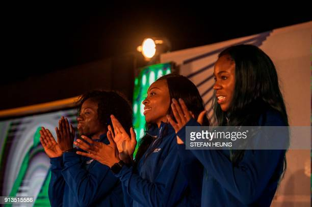 Seun Adigun Ngozi Onwumere and Akuoma Omeoga attend a social social event in Lagos Nigeria on February 2 2016 The lady bobsledders will be the first...