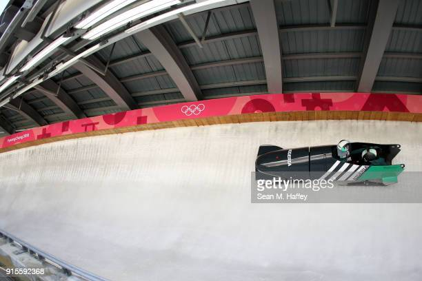 Seun Adigun of Nigeria drives during a training session in the Women's Bobsleigh previews ahead of the PyeongChang 2018 Winter Olympic Games at the...