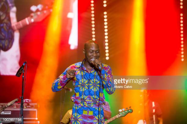 Seun Kuti performs on the floating stage of Festival Pirineos Sur on July 14 2018 in Lanuza Spain