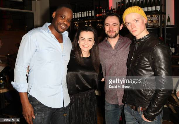 Seun Shote Hayley Squires George Blagden and Tom Rhys Harries attend the press night performance of 'The Pitchfork Disney' at Shoreditch Town Hall on...