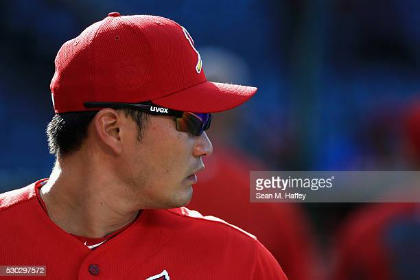 Seung Hwan Oh of the St Louis Cardinals looks on prior to a baseball game between the Los Angeles Angels of Anaheim and the St Louis Cardinals at...
