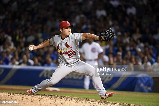 Seung Hwan Oh of the St Louis Cardinals pitches against the Chicago Cubs on August 11 2016 at Wrigley Field in Chicago Illinois The Cubs won 43 in...