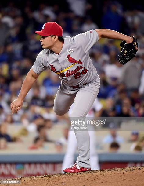 Seung Hwan Oh of the St Louis Cardinals pitches against the Los Angeles Dodgers during the ninth inning at Dodger Stadium on May 14 2016 in Los...