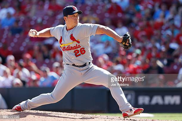 Seung Hwan Oh of the St Louis Cardinals pitches against the Cincinnati Reds in the ninth inning at Great American Ball Park on September 4 2016 in...
