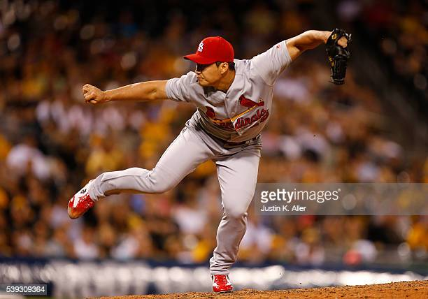Seung Hwan Oh of the St Louis Cardinals pitches in the eighth inning during the game against the Pittsburgh Pirates at PNC Park on June 10 2016 in...