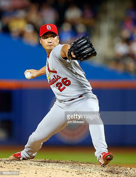 Seung Hwan Oh of the St Louis Cardinals pitches in the ninth inning against the New York Mets at Citi Field on July 27 2016 in the Flushing...