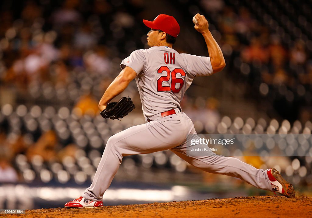 Seung Hwan Oh #26 of the St. Louis Cardinals pitches in the ninth inning during the game against the Pittsburgh Pirates at PNC Park on September 6, 2016 in Pittsburgh, Pennsylvania.