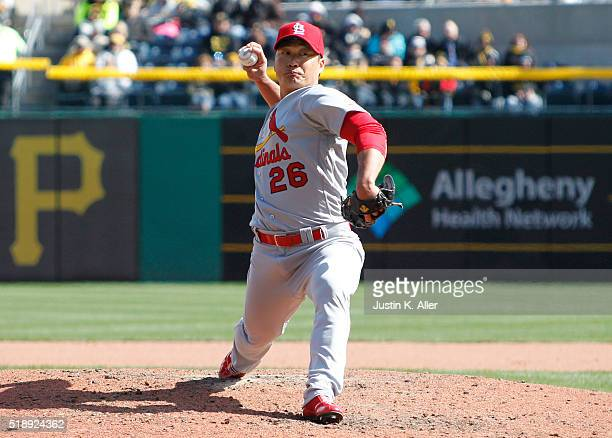 Seung Hwan Oh of the St Louis Cardinals pitches in the seventh inning during opening day against the Pittsburgh Pirates at PNC Park on April 3 2016...