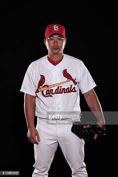 Seung Hwan Oh of the St Louis Cardinals poses for a photograph at Spring Training photo day at Roger Dean Stadium on February 25 2016 in Jupiter...