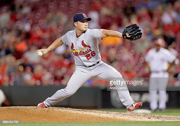Seung Hwan Oh of the St Louis Cardinals throws a pitch in the ninth inning against the Cincinnati Reds at Great American Ball Park on August 2 2016...