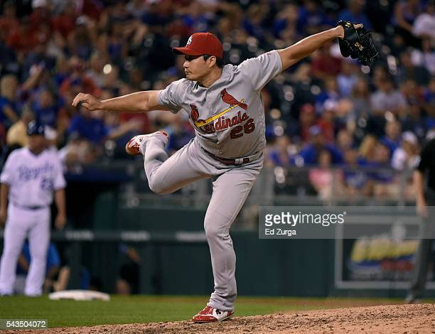Seung Hwan Oh of the St Louis Cardinals throws in the ninth inning against the Kansas City Royals at Kauffman Stadium on June 28 2016 in Kansas City...