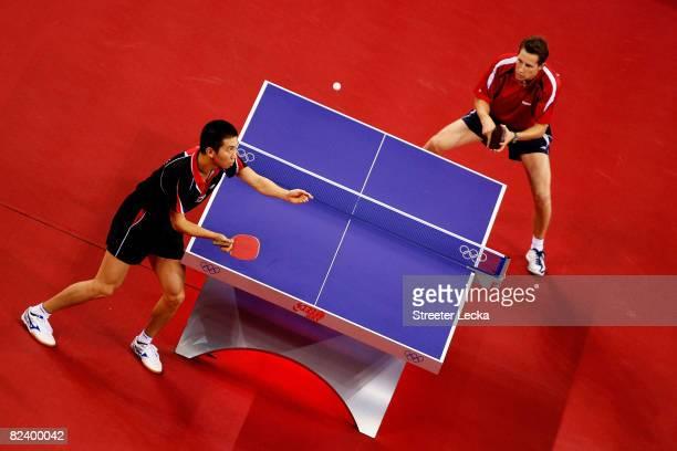 Seung Min Ryu of Korea to Robert Gordos of Austria during their table tennis match at the Peking University Gymnasium on Day 10 of the Beijing 2008...