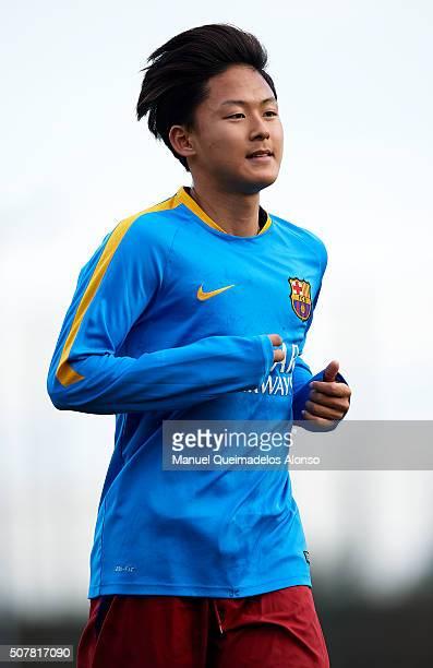 Seung Woo Lee of Barcelona looks on prior to the match between FC Barcelona U18 and Real Zaragoza U18 at Ciutat Esportiva Joan Gamper on January 31...