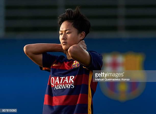 Seung Woo Lee of Barcelona reacts during the match between FC Barcelona U18 and Real Zaragoza U18 at Ciutat Esportiva Joan Gamper on January 31 2016...