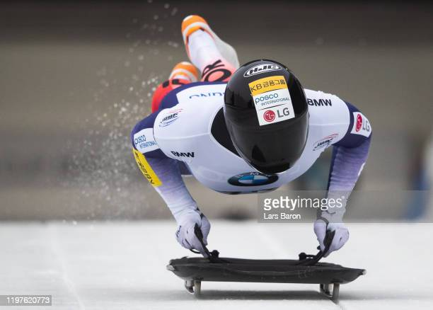 Seunggi Jung of Korea competes during the BMW IBSF Skeleton World Cup at Veltins Eis-Arena on January 05, 2020 in Winterberg, Germany.