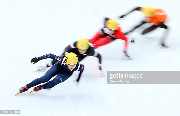 SeungHi Park of Korea Arianna Fontana of Italy Marianne St Gelais of Canada and Jorien ter Mars of the Netherlands compete in the Short Track Speed...