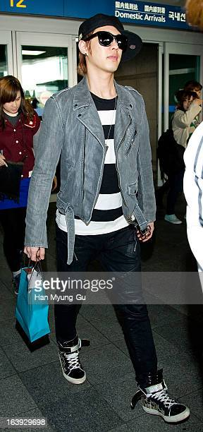 Seungho of South Korean boy MBLAQ is seen upon arrival at Incheon International Airport on March 17 2013 in Incheon South Korea