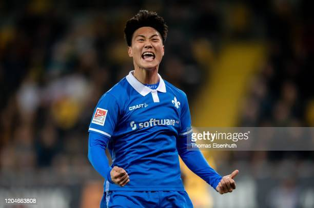 Seung-Ho Paik of Darmstadt celebrates after his team's first goal during the Second Bundesliga match between SG Dynamo Dresden and SV Darmstadt 98 at...