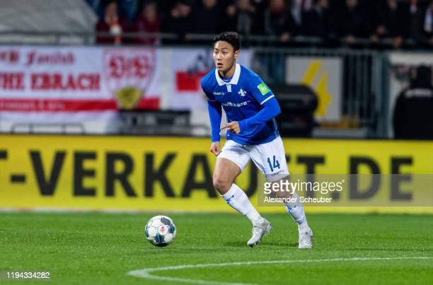 Seung-ho Paik of Darmstadt controls the ball during the Second Bundesliga match between SV Darmstadt 98 and VfB Stuttgart at Merck-Stadion am...
