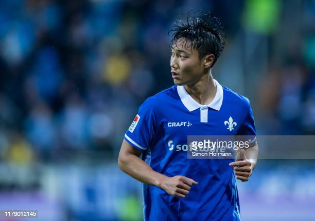 Seung-ho Paik of Darmstadt looks on during the Second Bundesliga match between SV Darmstadt 98 and Karlsruher SC at Merck-Stadion am Boellenfalltor...