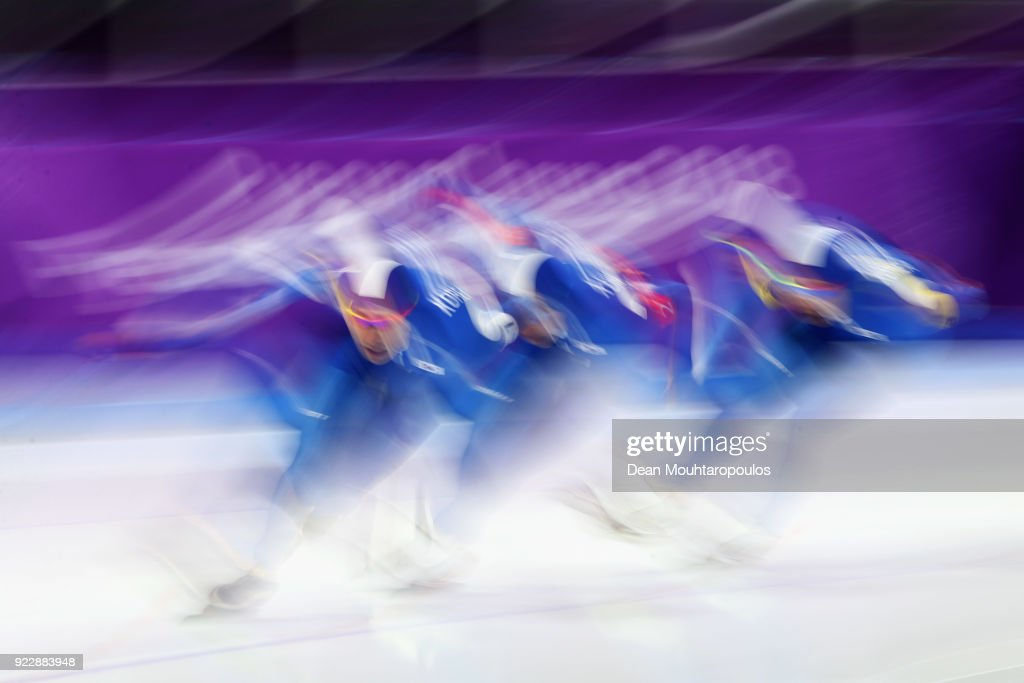 Seung-Hoon Lee, Chung Jaewon and Kim Min Seok of South Korea compete during the Speed Skating Men's Team Pursuit final a on day 12 of the PyeongChang 2018 Winter Olympic Games at Gangneung Oval on February 21, 2018 in Gangneung, South Korea.