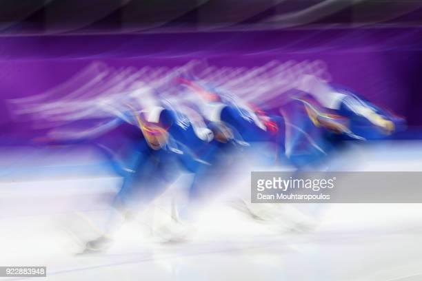 Seung-Hoon Lee, Chung Jaewon and Kim Min Seok of South Korea compete during the Speed Skating Men's Team Pursuit final a on day 12 of the PyeongChang...