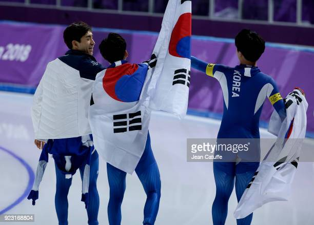 SeungHoon Lee Jaewon Chung Min Seok Kim of Korea following the Speed Skating Men's Team Pursuit Final on day 12 of the PyeongChang 2018 Winter...