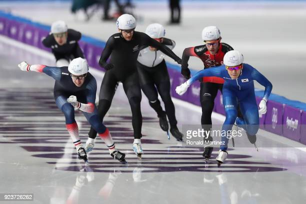 SeungHoon Lee of Korea and Alexis Contin of France compete during the Men's Speed Skating Mass Start Semifinal 1 on day 15 of the PyeongChang 2018...