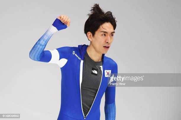 Seung-Hoon Lee of Korea celebrates his time during the Men's 5000m Speed Skating event on day two of the PyeongChang 2018 Winter Olympic Games at...