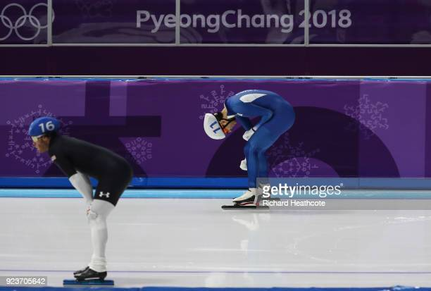 SeungHoon Lee of Korea celebrates winning the gold medal during the Men's Speed Skating Mass Start Final on day 15 of the PyeongChang 2018 Winter...